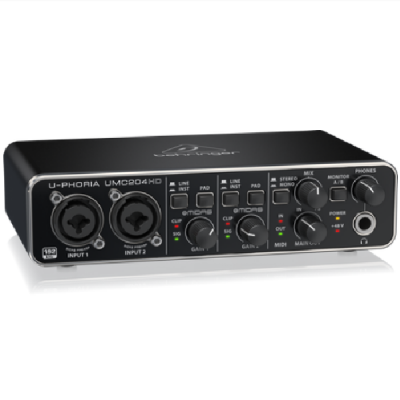 Behringer U-Phoria UMC204HD, 2 in, 4 out, usb, soundcard, interface, Behringer near me, Behringer Cape Town